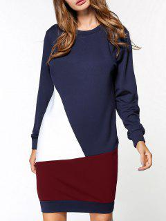 Fleece Color Block Sweatshirt Dress - Purplish Blue L