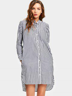 Long Sleeve Slit Stripes Shirt Dress - Stripe S