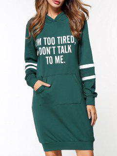 Fleece Graphic Hoodie Dress - Green L