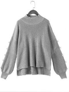 Lantern Sleeve Side Slit Beaded Sweater - Gray 2xl