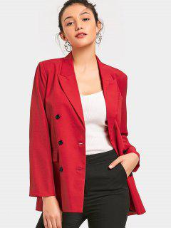 Long Sleeve Double-breasted Blazer - Red M
