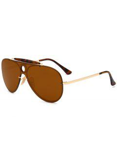 Leopard Bar Hollow Round Shield Pilot Sunglasses - Tea-colored