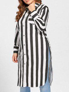 Plus Size Striped High Slit Pocket Shirt - Black