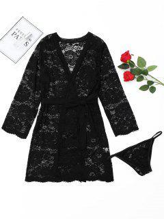 Lace Wrap Kimono Sleepwear - Black L