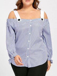 Plus Size Bowtie Stripe Off The Shoulder Blouse - Blue 4xl