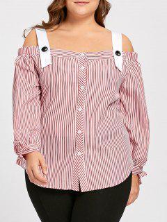 Plus Size Bowtie Streifen Von Der Schulter Bluse - Rosa 2xl