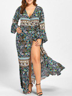 Plus Size Bell Sleeve Wrap Maxi Dress - Green Xl