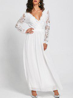 Lace Insert Open Back Maxi Dress - White Xl