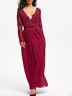 Lace Insert Open Back Maxi Dress - Red S