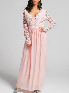 Lace Insert Open Back Maxi Dress - Pink S