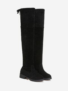 Tie Back Low Heel Thigh High Boots - Black 39