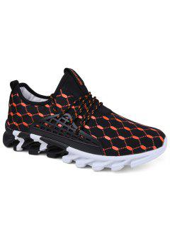 Breathable Geometric Print Athletic Shoes - Black And Orange 40