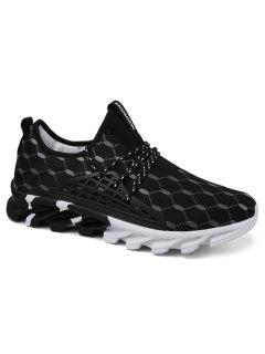 Breathable Geometric Print Athletic Shoes - Black 44