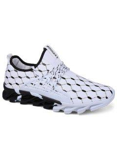Breathable Geometric Print Athletic Shoes - Black White 41