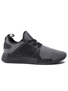 Round Toe Running Breathable Mesh Sneakers - Strip Pattern 40