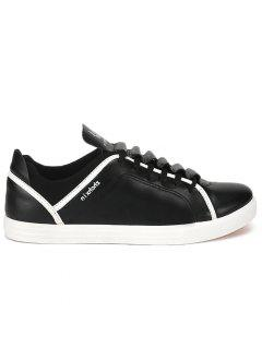 Round Toe Letter Print Low-top Sneakers - Black 40