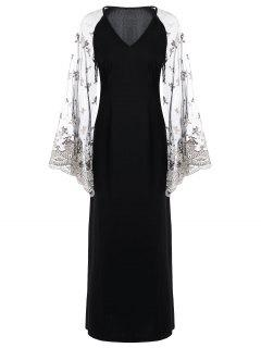 Sheer V Neck Flare Sleeve Maxi Dress - Black L