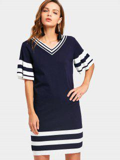 V Neck Stripes Panel Sweater Sheath Dress - Blue And White