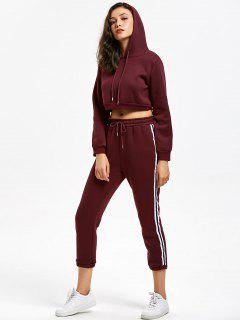 Casual Cropped Hoodie And Stripes Trim Sports Pants - Wine Red Xl