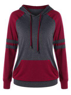 Two Tone Raglan Sleeve Hoodie - Gray And Red 2xl