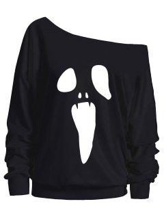 Halloween Ghost Skew Neck Sweatshirt - Black M