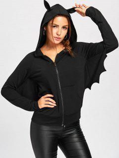 Halloween Zipper Up Batwing Sleeve Hoodie - Black L