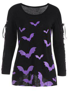 Camiseta Larga Cruzada Del Palo De Halloween De La - Negro L