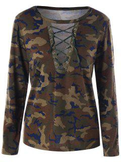 Camouflage Lace Up T-shirt - Acu Camouflage Xl