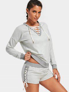 Casual Lace Up Sweatshirt With Shorts - Gray L