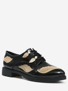 Embroidery Faux Pearl Wing Flat Shoes - Golden 39