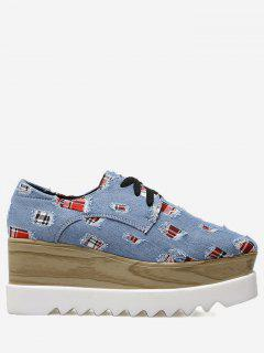 Plaid Denim Square Toe Wedge Shoes - Blue 40