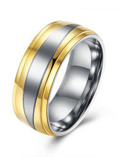 Round Two Tone Finger Ring - Golden 7