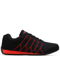 Round Toe Zig Zag Breathable Suede Sneakers - Black Red 42