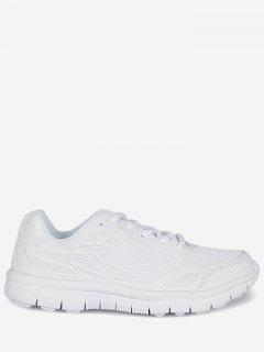 Mesh Lace Up Sneakers - White 38
