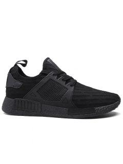 Round Toe Running Breathable Mesh Sneakers - Black 43