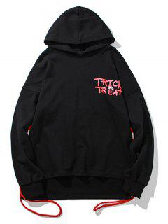 String Design Drop Shoulder Graphic Hoodie - Black L