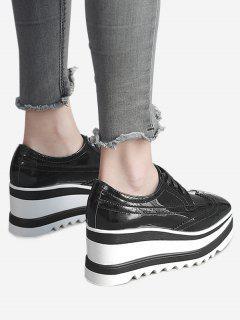 Zapatos De Costura De La Cuña Del Wingtip - Negro 36