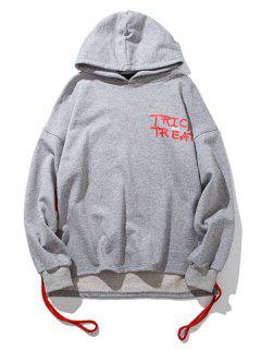 String Design Drop Shoulder Graphic Hoodie - Light Gray L