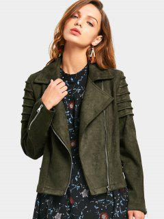 Faux Suede Zip Up Jacket - Army Green M