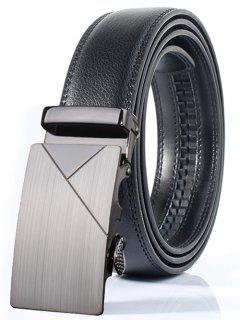 Polished Geometric Automatic Buckle Wide Belt - Frost