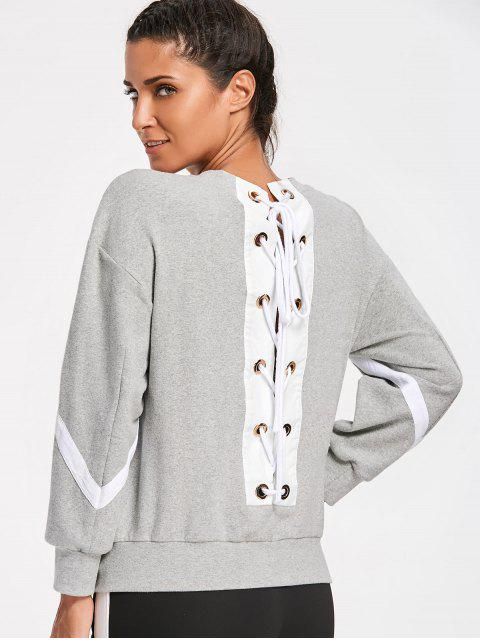 lady Zig Zag Back Lace Up Sweatshirt - GRAY M Mobile