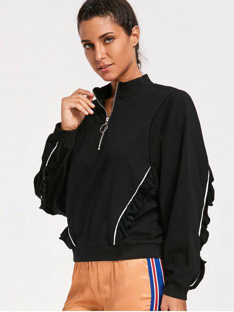 Ruffles Half Zipper Sudadera - Negro M Mobile