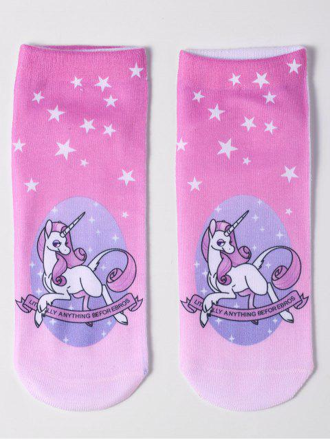 ladies Magical Unicorn Ankle Socks - PINK  Mobile