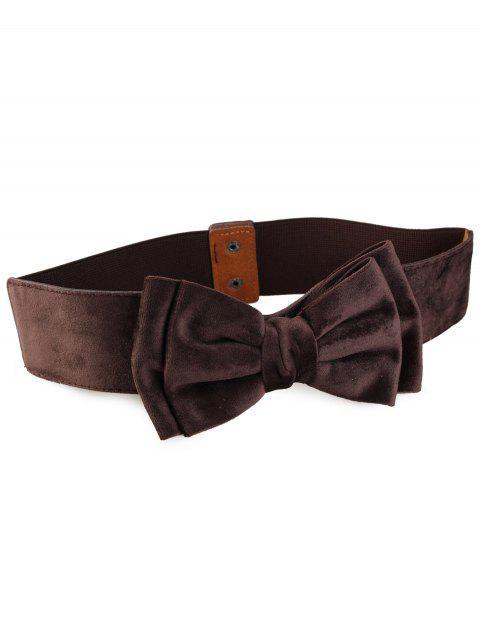 fashion Vintage Bowknot Embellished Elastic Waist Belt - DEEP BROWN  Mobile