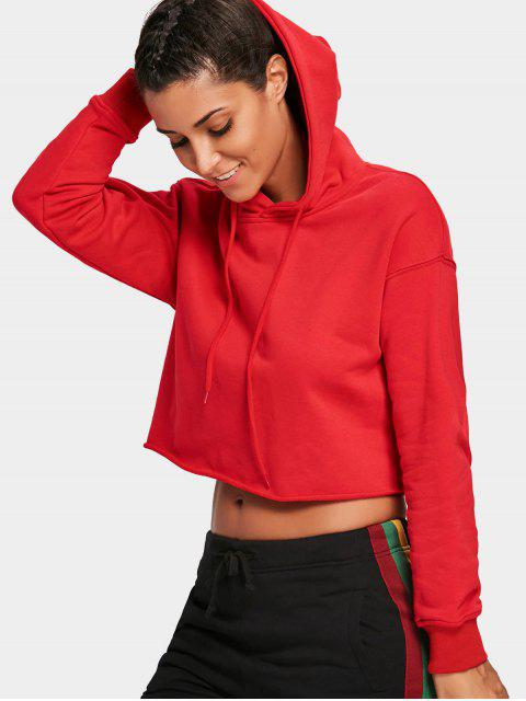womens Pullover Cropped Sporty Hoodie - RED L Mobile