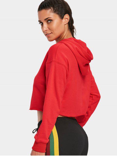 Pullover Cropped Sudadera con capucha deportiva - Rojo S Mobile