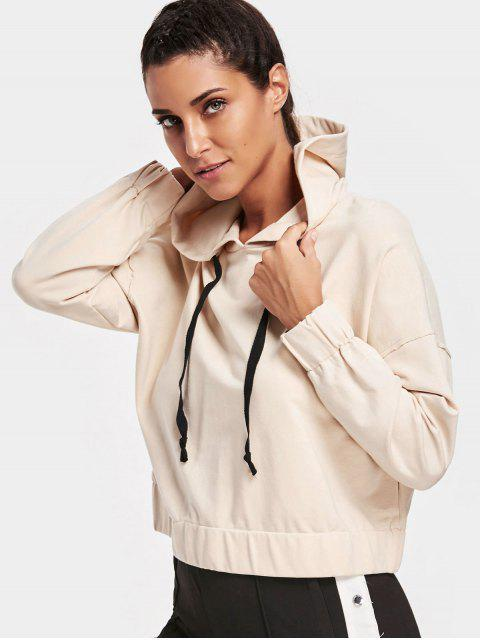 ladies Drawstring Elastic Hem Sporty Hoodie - APRICOT L Mobile