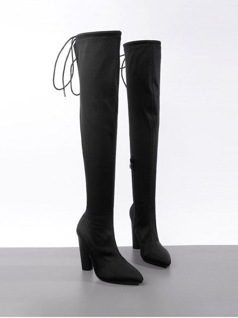 fashion High Heel Pointed Toe Over The Knee Boots - BLACK 40 Mobile