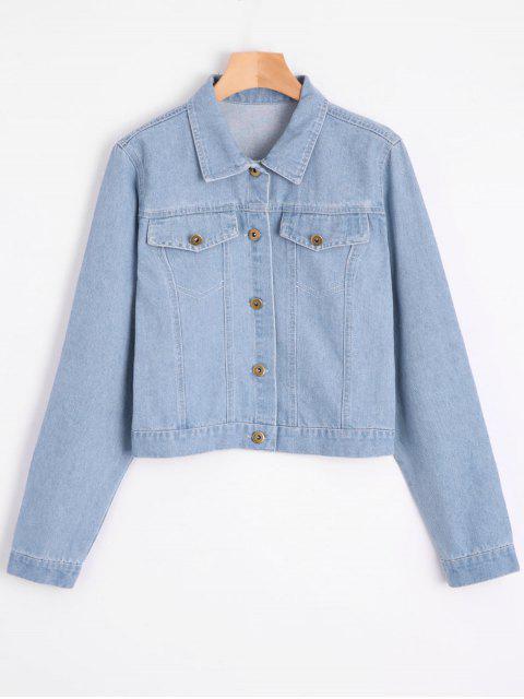 jeansjacke mit blume patch und faux taschen hellblau. Black Bedroom Furniture Sets. Home Design Ideas