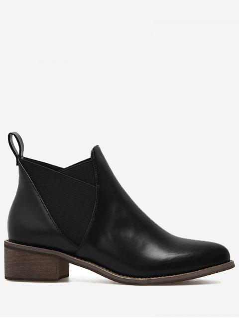 shops PU Leather Elastic Band Ankle Boots - BLACK 38 Mobile